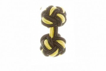 Black & Canary Yellow Silk Cuffknots - 1