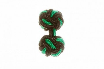 Black & Green Silk Cuffknots - 1