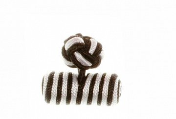 Black & White Barrel Silk Cuffknots - 1