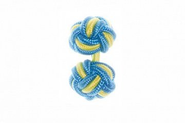 Blue & Canary Yellow Silk Cuffknots - 1