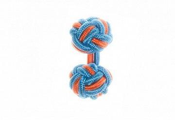 Blue & Tango Orange Silk Cuffknots - 1