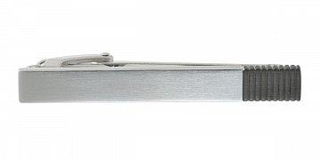 Broušená spona na kravatu s šedým efektem žebrování
