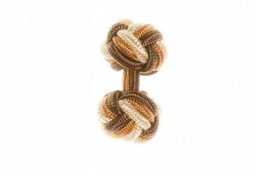 Brown, Cream and Tan Silk Cuffknots - 1