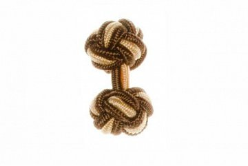 Brown & Yellow Silk Cuffknots - 1