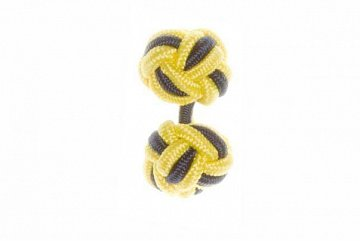 Canary Yellow & Navy Blue Silk Cuffknots - 1