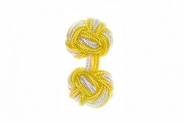 Canary Yellow & White Silk Cuffknots - 1