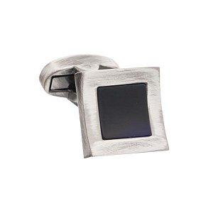 Černé prohnuté manžetové knoflíčky s onyxem ve starožitném nadčasovém designu - 1