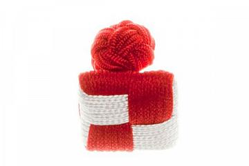 Chess Board Red & White Silk Cuffknots - 1