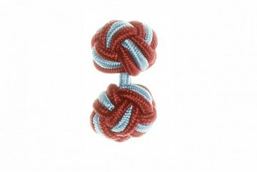 Claret Red & Light Blue Silk Cuffknots - 1