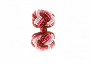 Claret Red & Pink Silk Cuffknots - 1