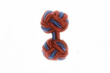 Claret Red & Royal Blue Silk Cuffknots - 1