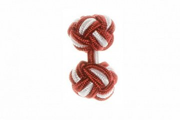 Claret Red & White Silk Cuffknots - 1