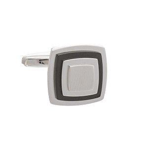 Designové manžetové knoflíčky v matném provedení zaoblených čtverců s šedým doplňkem - 1
