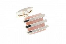 Designové stříbrné manžetové knoflíčky s růžovou perletí 925/1000