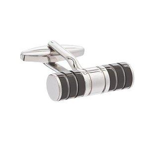 Elegantní černé manžetové knoflíčky v kombinaci tubusu a pruhů ve stříbrné barvě - 1