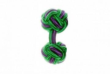 Emerald Green & Purple Cuffknots Silk Knot Cufflinks - 1