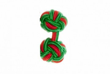 Emerald Green & Red Cuffknots Silk Knot Cufflinks - 1