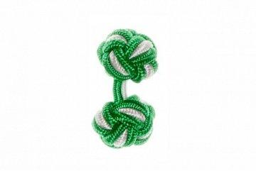 Emerald Green & White Cuffknots Silk Knot Cufflinks - 1