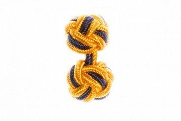 Gold & Navy Blue Silk Cuffknots - 1