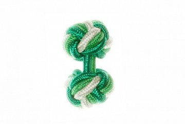 Green, Emerald Green & Light Green Silk Cuffknots - 1