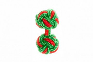 Green & Red Silk Cuffknots - 1