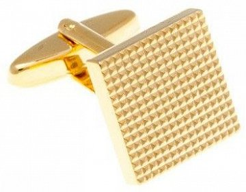 Industriální manžetové knoflíčky s vroubkovaným designem ve zlaté barvě - 1