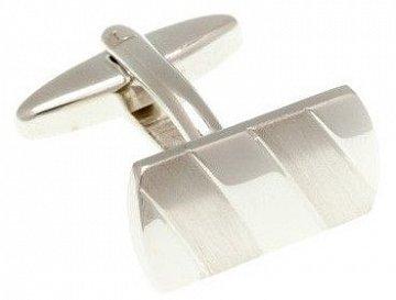 Klasické stříbrné manžetové knoflíčky se saténově broušenými pruhy ve tvaru obdélníku - 2