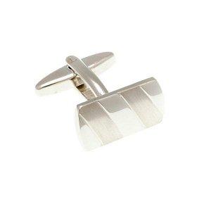 Klasické stříbrné manžetové knoflíčky se saténově broušenými pruhy ve tvaru obdélníku - 4