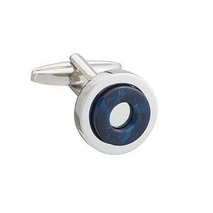 Kulaté manžetové knoflíčky s elegantním designem v modré barvě a lesklým kovem - 1