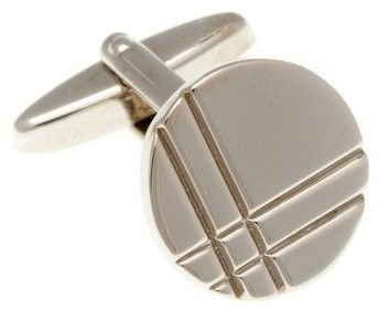 Kulaté stříbrné manžetové knoflíčky s decentně gravírovanými liniemi - 1