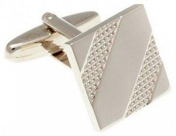 Lesklé stříbrné manžetové knoflíčky s gravírovaným vzorem - 1