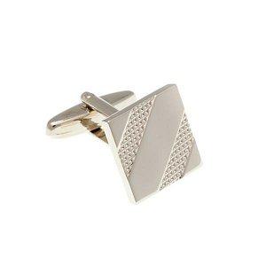 Lesklé stříbrné manžetové knoflíčky s gravírovaným vzorem - 2