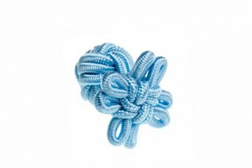 Light Blue Flower Shaped Cuffknots Silk Knot Cufflinks - 1