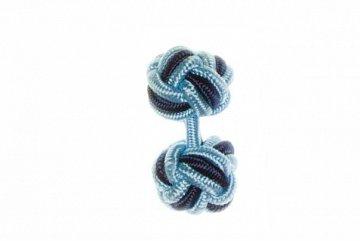 Light Blue & Navy Blue Cuffknots Silk Knot Cufflinks - 1