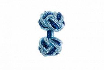 Light Blue & Royal Blue Cuffknots Silk Knot Cufflinks - 1