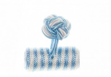 Light Blue & White Barrel Silk Cuffknots - 1