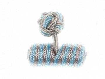 Light Grey & Light Blue Barrel Silk Cuffknots - 1