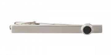 Luxusní designová stříbrná spona na kravatu s černým matným kulatým detailem - 1