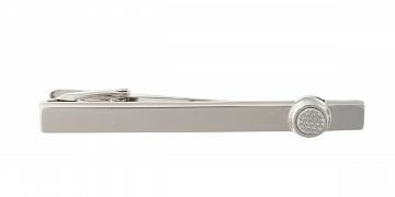 Luxusní designová stříbrná spona na kravatu s matným kulatým detailem - 1