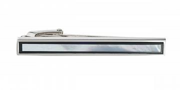 Luxusní spona na kravatu s perletí a onyxem v délce 50mm