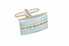 Luxusní stříbrné manžetové knoflíčky osazené modrou perletí a jemnými křišťály