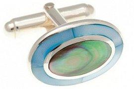 Luxusní stříbrné manžetové knoflíčky s modrou perletí a onyxem 925/1000