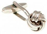 Manžetové knoflíčky mistrně spletené do tvaru uzle stříbrné barvy
