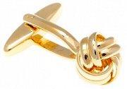 Manžetové knoflíčky mistrně spletené do tvaru uzle zlaté barvy
