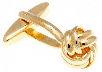 Manžetové knoflíčky mistrně spletené do tvaru uzle zlaté barvy - 1