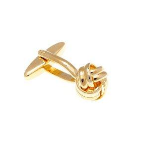 Manžetové knoflíčky mistrně spletené do tvaru uzle zlaté barvy - 2