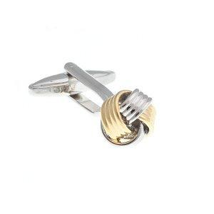 Manžetové knoflíčky spletené do tvaru uzlíku ve zlaté a stříbrné barvě - 1