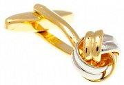Manžetové knoflíčky ve tvaru uzlíku spleteného ze zlatých a stříbrných kovových prutů