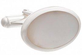 Nadčasové oválné stříbrné manžetové knoflíčky s kabošonem z perleti