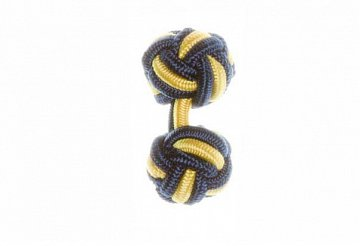 Navy Blue & Canary Yellow Silk Cuffknots - 1